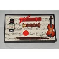 Набор  для каллиграфии LaKalligrafica 1024 - печать (скрипичный ключ), сургуч, перьевая ручка, чернило, скрипка
