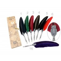 Гусиное Перо  с совой Dallaiti Piu 32 - бордо, зеленое, коричневое, красное, синее, фиолетовое, черное