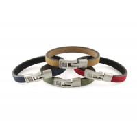 Кожаный  браслет Dallaiti, BC74, красный, бежевый, зеленый, синий
