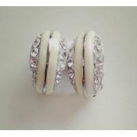 Клипсы серебристые с белой эмалью