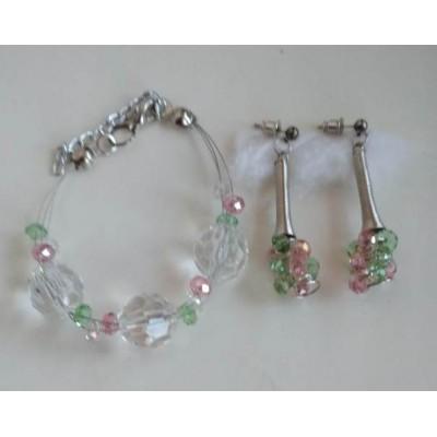 Серьги  и браслет  из хрусталя  белого, розового, салатового, ручная работа