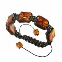 Плетенный браслет  шамбала  из  темного  янтаря на 5 бусин , янтарь натуральный
