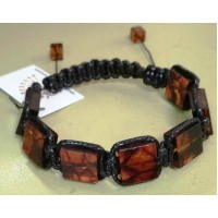 Плетенный браслет  шамбала  из  темного  янтаря на 7 бусин , янтарь натуральный