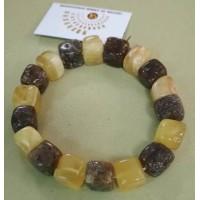 Браслет из янтаря, янтарь желто-оливковый натуральный