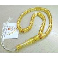 Четки из  янтаря, на 33 бусины, форма цилиндр, янтарь натуральный золотисто-медовый  прозрачный