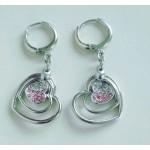 Серьги серебристо-розовые длинные сердечками