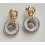 Серьги серебристо-золотистые  с белой емалью