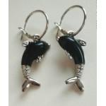 Серьги Дельфины серебристо-черные