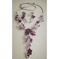 """Набор  """"Цветочный """" - серьги  и ожерелье - сиренево-фиолетовый"""