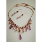 Набор  украшений,  серьги  и ожерелье, золото и фиолет