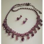 Набор украшений нарядный, серьги  и ожерелье, фиолетовые камни