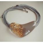 Ожерелье  Большое сердце серо-золотистое