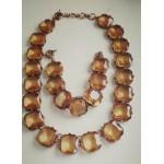 Стильное ожерелье и браслет, большие коричневые камни