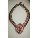 Винтажное ожерелье с камнями цвета хереса, красными и др