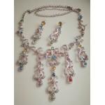 Набор с разноцветными камнями, серьги и ожерелье
