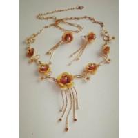Комплект бижутерии Желтые цветы, серьги о ожерелье