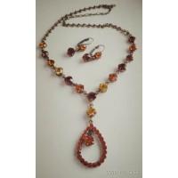 Винтажный комплект украшений из серьг и ожерелья, камни желтые и коричневые
