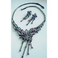 Черненый набор  украшений, серьги висульки и ожерелье, с разноцветными камнями