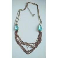 Винтажное  ожерелье, колье   с  двумя крупными голубыми камнями