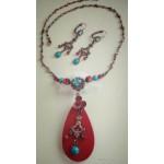 Винтажный  красно-голубой набор  украшений, серьги висульки и ожерелье, есть вставки бирюзы