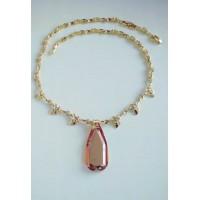 Нарядное золотистое ожерелье, колье   с крупным  кофейным камнем