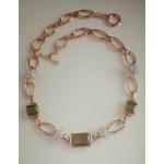 Стильное Золотое ожерелье  с крупными оливковыми фианитами