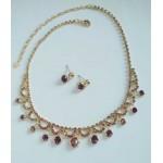 Нежный  золотой топазный набор  украшений, серьги  и ожерелье,  фианиты цвета хереса,
