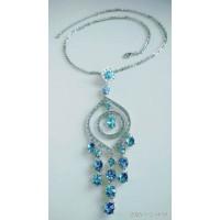 Нарядное серебристое ожерелье, колье   с голубыми камнями