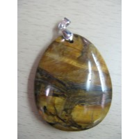 Кулон  овальный- тигровый глаз, натуральный камень