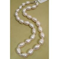 Бусы  жемчужные, жемчуг белый натуральный,  форма  бочонок, 47см,  размер  бусин -0,9х1,5см