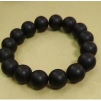 Браслет  черный матовый, камень импактит  - черный матовый агат