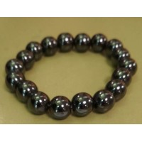 Браслет  черно-серебристый из гематита, камень натуральный
