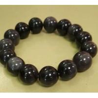 Браслет  черно-серый,  обсидиан  натуральный камень шариком