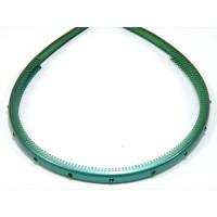 Ободок  зеленый  с кристаллами, французский пластик, OP105-126c-st9,  AKCENT