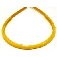 Ободок  желтый с кристаллами, французский пластик, OP105-210-st9,  AKCENT