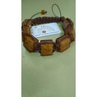 Плетенный браслет унисекс  шамбала  из  медового  янтаря , янтарь натуральный, шнур - коричневый