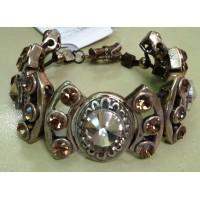 Браслет винтажный золотистый с коричневыми крупными топазами и мелкими коричневыми кристаллами
