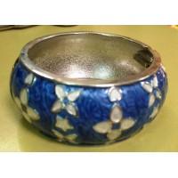Браслет  круглый  серебристый  синий с емалью