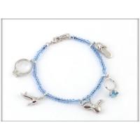Браслет родированный с белыми и голубыми Сваровски, H75100, ювелирная бижутерия Blue Dolphin , Англия
