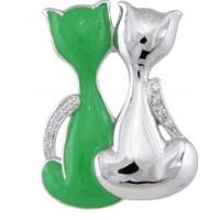 """Брошь, """"Влюбленные коты"""" Blue Dolphin, B 8375 g, серебристо-зеленая"""