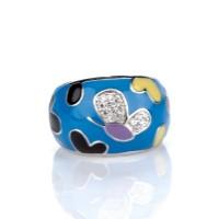 Кольцо -   синяя емаль с Сваровски, родий ,  Blue Dolphin , R76021