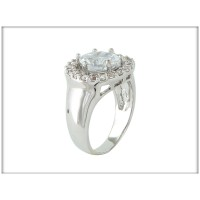 Кольцо - белые камни Сваровски, родий, Blue Dolphin,  Код: R 8460