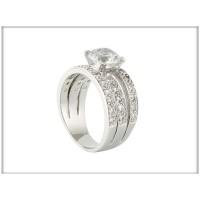 Кольцо - белые камни Сваровски, родий, , ювелирная бижутерия Blue Dolphin, Код: R 8953