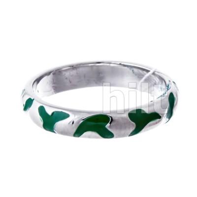Кольцо -  зеленое , родий ,  Blue Dolphin , емаль,Е64411