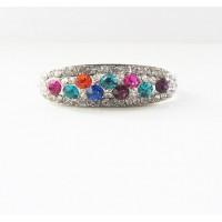 Кольцо с разноцветными камнями на 2 пальца