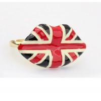 Кольцо на два пальца в виде губ с принтом британского флага