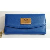 Кошелек на кнопке и на молнии,  кожа, Versace 1969, Италия, яркий синий