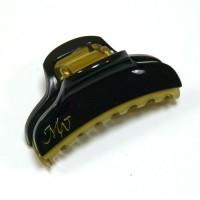 """Заколка  для волос """"Краб""""    ,  французская , AKCENT,  NK938-001bl, черный с золотом"""