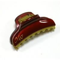 """Заколка  для волос """"Краб""""    ,  французская , AKCENT,  NK938-1138br81, красный с золотом"""