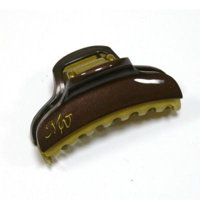 """Заколка  для волос """"Краб""""    ,  французская , AKCENT,  NK938-1138dbrn64, коричневый  с золотом"""